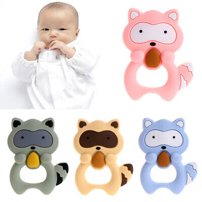 Silicone Raccoon Baby Teether squirrel Teething Pendant Necklace BPA Chew Toy