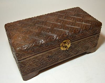 A Carved wooden Jewelry Box with ornate floral design, Hand carved treasure Box