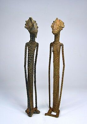 Tall Bronze Dogon Male & Female Ancestor couple sculpture, African Art
