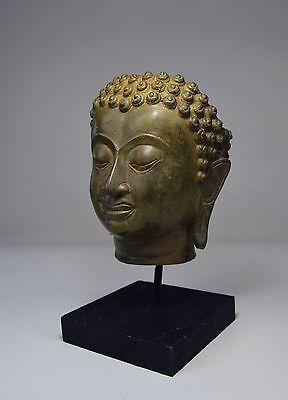 A Fine Buddha head bronze on custom base, Indonesian Buddhist Art