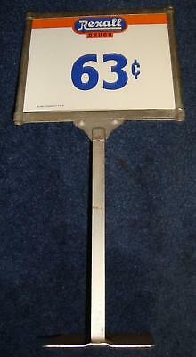 Rexall Drug Store Metal Standing Display Price Tag W NOS Inserts
