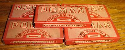 5 BOXES of Vintage Poman Durham Type Razor Blades NOS in Box New York NY