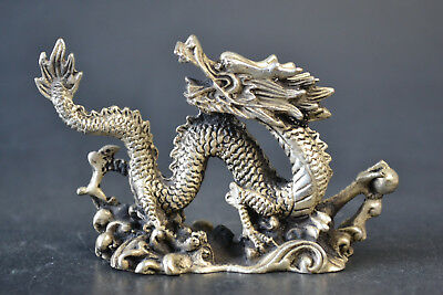 China Collectible Decor Old Tibet Silver Handwork Dragon Look back on Statue