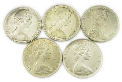 Lot of 5 Australian Silver Coins- 1960 -AU or Better- ASW 1.697 oz- KM#67 PG 105