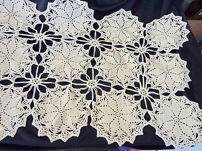 """Table Runner Hand Crocheted; 50""""x16""""; Age?"""