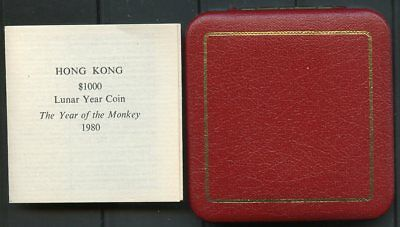 Hong Kong 1980 $1000 Year Of The Monkey Gold Coin Uncirculated Cpl With Coa