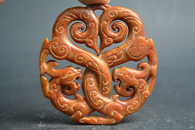 China Collectible Old Natural Jade carved dragon twine circle Statue Pendant