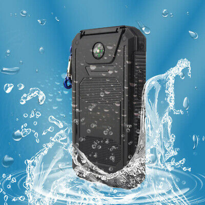AU Waterproof Solar Power Bank 50000mAh 2USB LED Battery Charger for iPhone 8 X