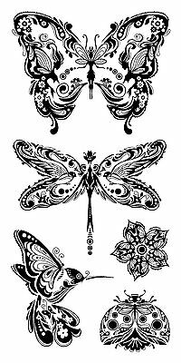 Inkadinkado Clear Stamps - Mindscapes, Butterflies, Butterfly, Ladybird