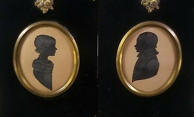 ANTIQUE EARLY 19th CENTURY FOLK-ART MINIATURE PORTRAIT SILHOUETTE PAINTINGS