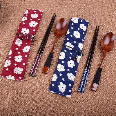 Gift Portable Japanese Tableware Wooden Chopsticks Spoon With Cloth Bag Set