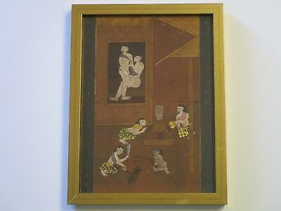 Antique Erotica Painting Asian Folk Art Thailand Village Manuscript 19Th Century