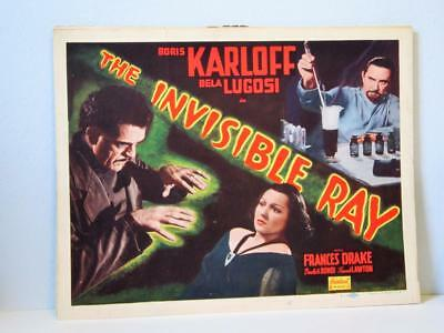 THE INVISIBLE RAY Realart rr TITLE Lobby Card BORIS KARLOFF BELA LUGOSI