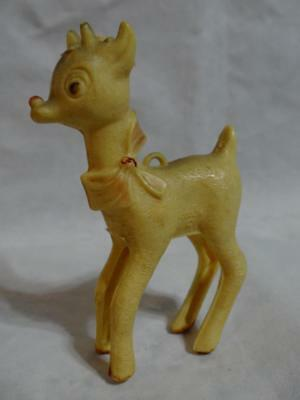 Very Old Plastic Rudolf Ornament 3 1/2 Inches Tall