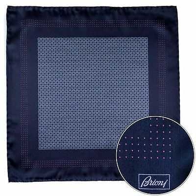 New BRIONI Italy Black Silver Weave Silk Pocket Square Handkerchief MSRP $150!