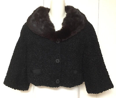 Vintage Cropped Bolero Gidget Jacket Fur Collar Astrakhan fabric 1960s swing