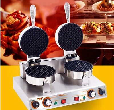 New Double Head Commercial 1100W Non Stick Plates Stainless Steel Waffle Maker*