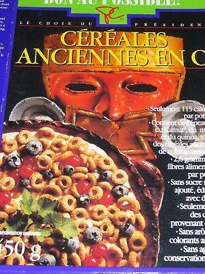 1994 Canadian ANCIENT GRAIN CEREAL O's French & English Fantastic Aztec Design