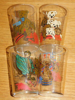 LOT 4 ancien vintage VERRE ORTF O.R.T.F nounours ours teddy bear AMORA glass