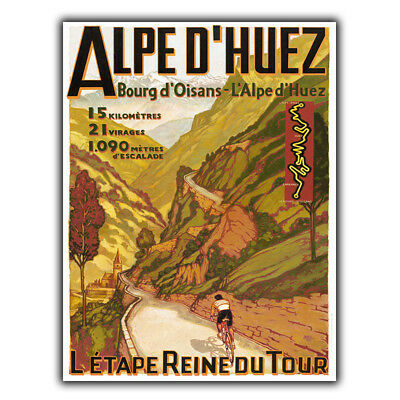 ALPE D'HUEZ Tour De France Cycling Retro Metal Plaque Sign Man Cave Novelty Gift