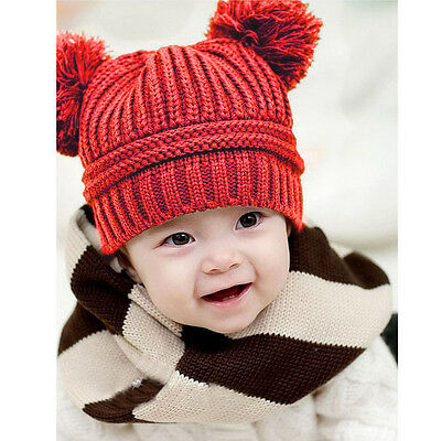 Toddler Baby Kids Girls Boys Dual Balls Warm Knitted Cap Beanie Hat Photo Prop A