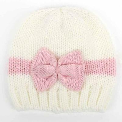 Newborn Baby Girl Boy Infant Toddler Bow Knit Crochet Hat Winter Warm Beanie New