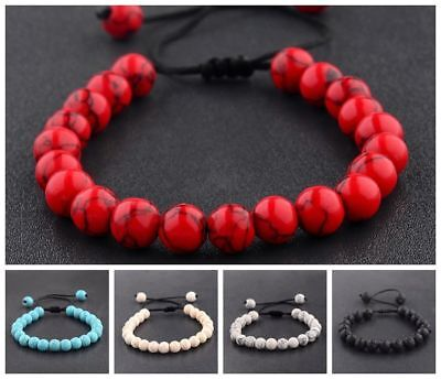 Couples Men's Women's Beads Turquoise Howlite Agate Macrame Weaving Bracelets