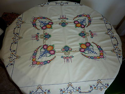 Vintage Heavily Worked Cross Stitch Roses Tablecloth