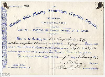 Share Scrip - Mining. 1899 Victoria Gold Mining Assoc (Charters Towers) QLD
