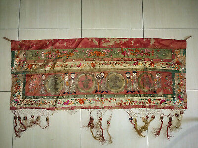 1940'S Gold Threads Deities Chinese Embroidery Tapestry Nonya Singapore China