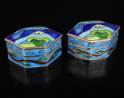 2 Cloisonne Jewelry Box Gift Old Handmade Collection Value