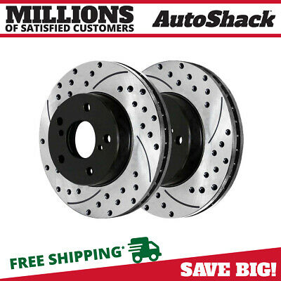 Front Drilled Slotted Brake Rotors Pair 2 Fits 04-08 Pontiac Grand Prix 580298