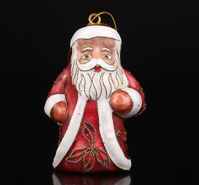 Cloisonne Statue Figurine Santa Claus Old Handmade Collection Value
