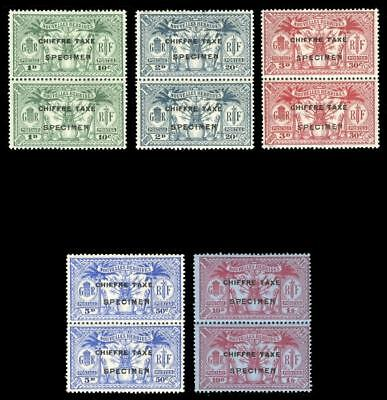 New Hebrides French 1925 Postage Due set in vertical pairs MLH. SG FD53s-57s.