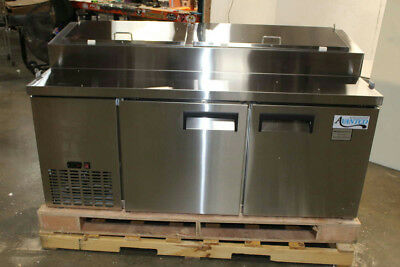 "Avanto APPT-71 72"" Stainless 2 Door Refrigerated 16 cu. ft. Pizza Prep Table"