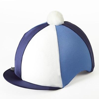 Navy/white Cambridge Blue Riding Hat Silk Cover For Jockey Skull Caps One Size