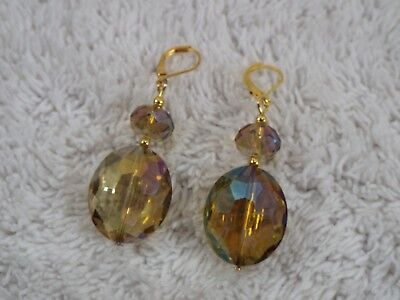 Large Goldtone Iridescent Gold Glass Bead Pierced Earrings (B49)