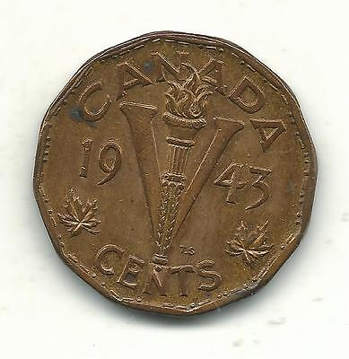 Very Nice High Grade Au Plus 1943 Tombac Canadian 5 Cents-With Some Luster