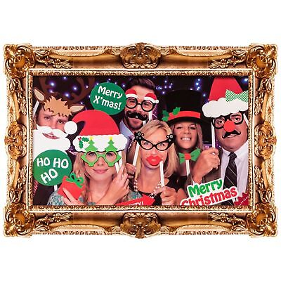Novelty Christmas Photobooth Frame Selfie Card Picture Props Festive Party Set