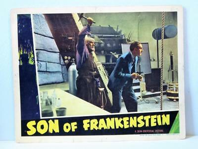 1939 SON OF FRANKENSTEIN Lobby Card LIONEL ATWILL LUGOSI Attacks RATHBONE Hammer