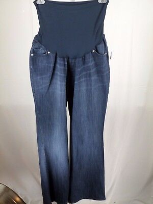 Nwt Oh Baby Motherhood Dark Wash  Flare Jeans With Belly Band Size 2X