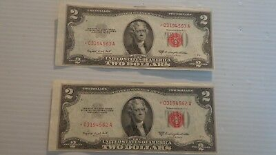 United States Two Dollar Bills Red Seal 1953 B Consecutive Numbers Uncirculated