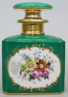 Stunning Antique COALPORT Stopper Perfume Bottle Green w/ Gold Gilt Trim ca 1814