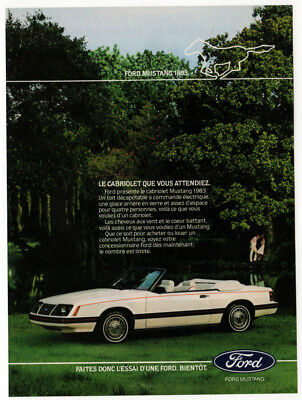 1983 FORD Mustang Convertible Vintage Original Print AD - White car photo Canada