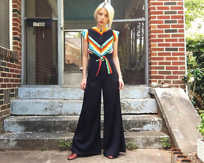Vtg 1970s Polyester tie waist  DISCO Palazzo JUMPSUIT hipster rainbow FESTIVAL