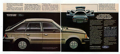 1982 FORD Escort Vintage Original Print AD Brown car photo 2 pages french canada