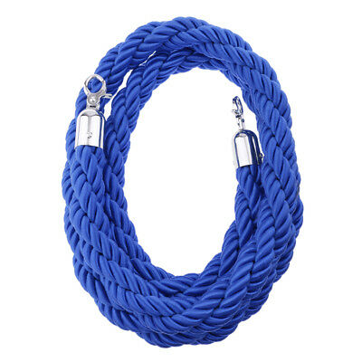 Blue Queue Barrier Stand Posts Twisted Rope Divider Crowd Stanchion 3m Long