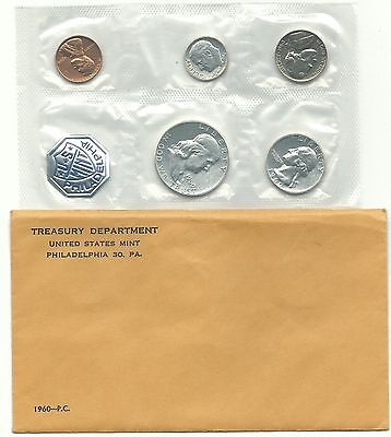 Very Nice 1960 Us Mint Proof 5 Coin Set With 3 Silver Coins-Jun340