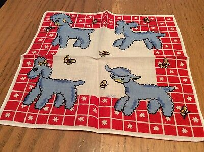 Charming Vintage Child's Handkerchief Poodles & Lambs by Alys
