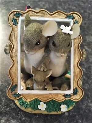 """Vintage Fitz & Floyd, Charming Tails """"Family Portrait"""" Resin Mouse Figurine Cute"""